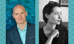 Side by side photos of authors Anthony Doerr and Charmaine Craig on a tiled teal background
