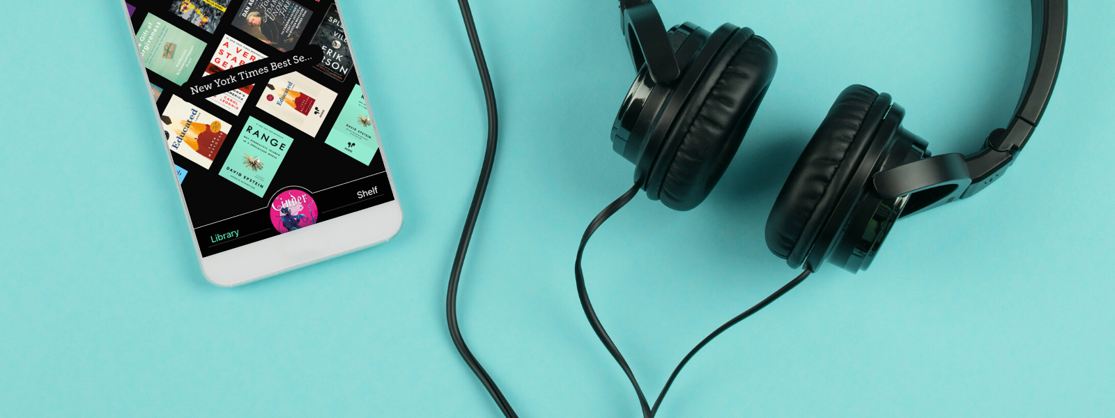 a phone with the Libby app and a pair of black headphones against a bright teal background