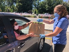 Woman handing bag of books to customer in car