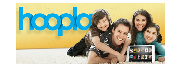 Photo of family with laptop with Hoopla logo in background