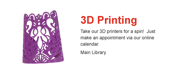 Photo of purple 3D-printed bracelet; 3D printing appointments, Main Library