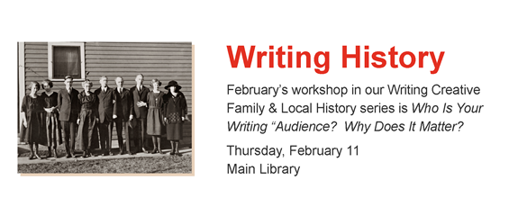 Old photo of group of adults.  Writing History, Feb 11, Main Library