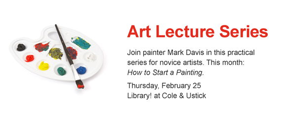 Photo of painter's palette; Art Lecture Series, Feb 25, Cole & Ustick branch